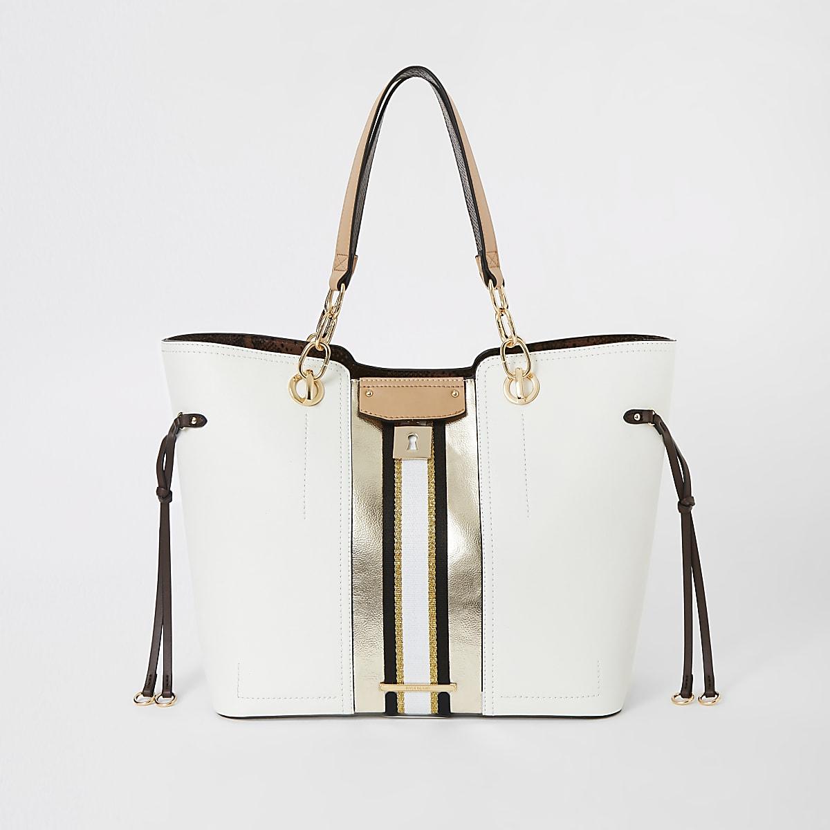 White lock front print tote bag