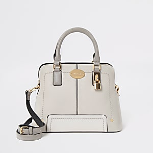 Light grey tote cross body bag