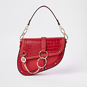 Red croc embossed saddle underarm bag