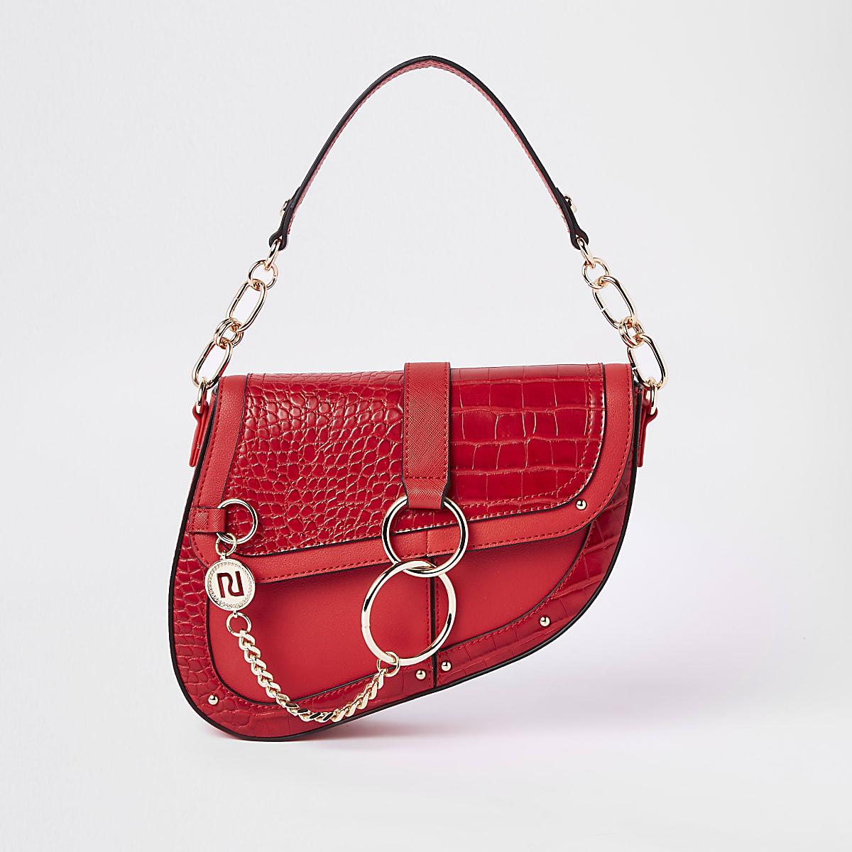 Red croc embossed saddle underarm bag
