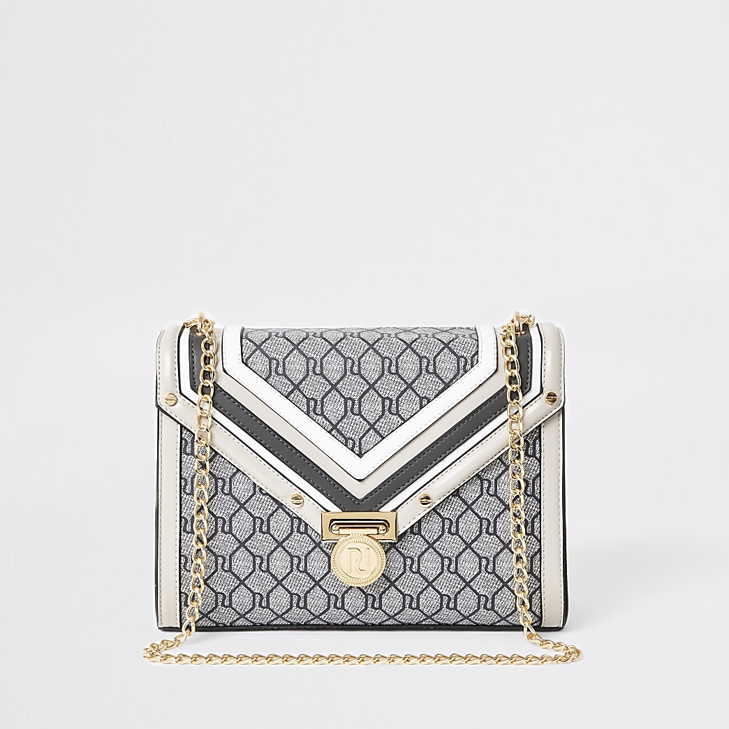 Grey RI monogram cross body bag