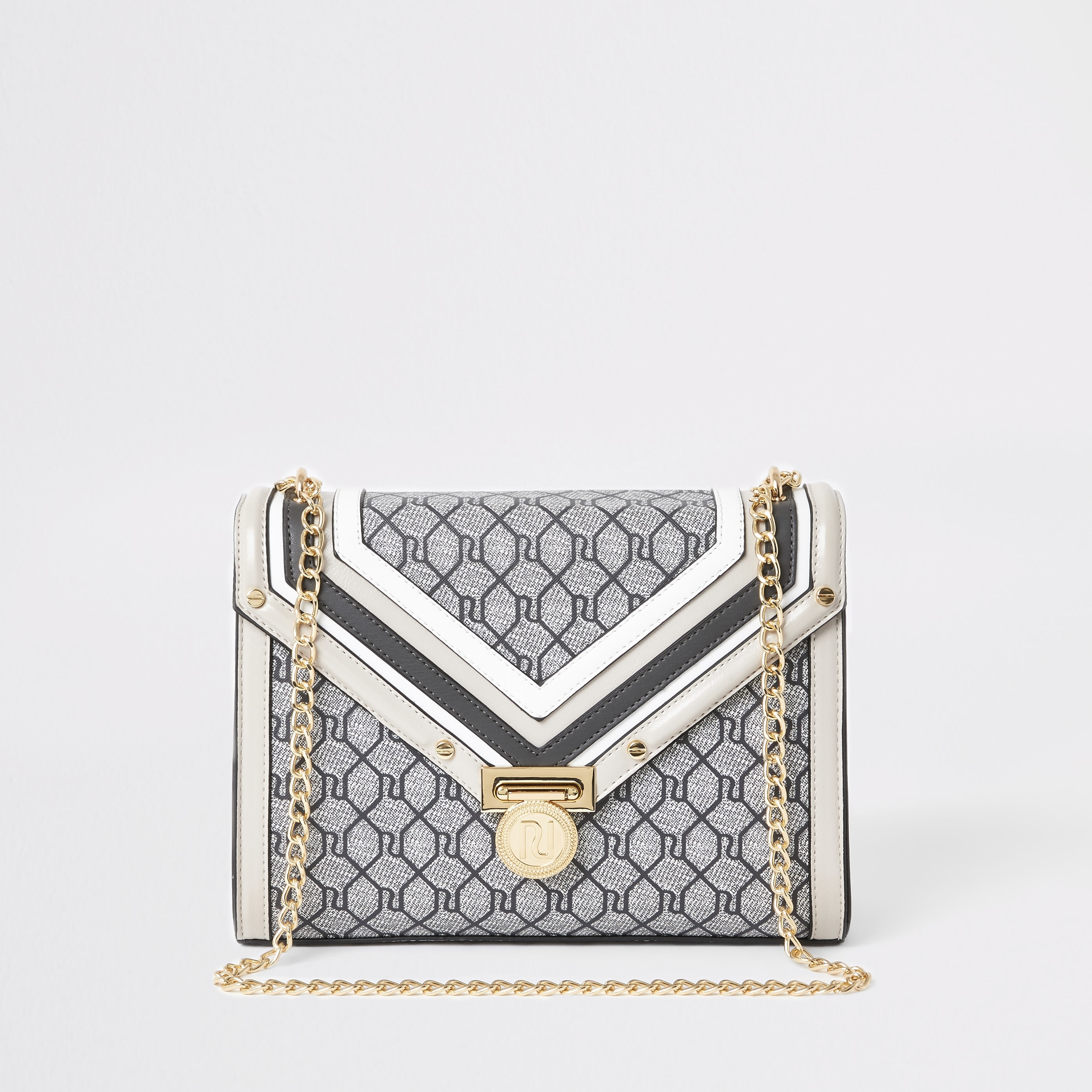 RIVER ISLAND | Womens Grey RI Monogram Cross Body Bag | Goxip