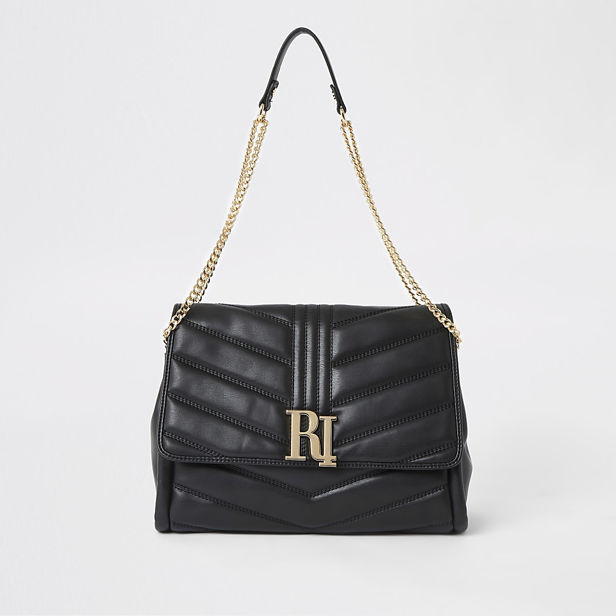 Black RI quilted underarm bag