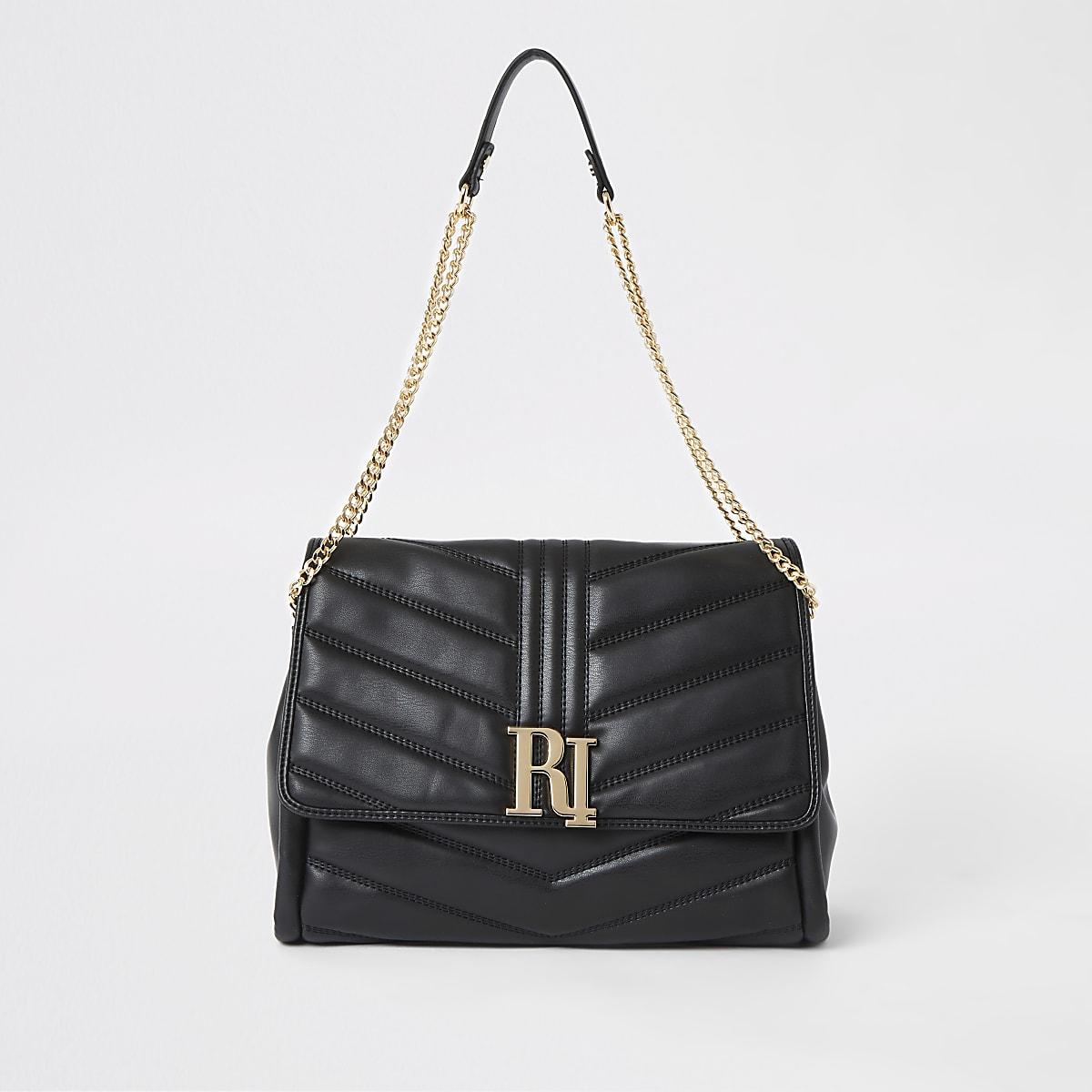 Zwarte doorgestikte onderarmtas met RI-logo