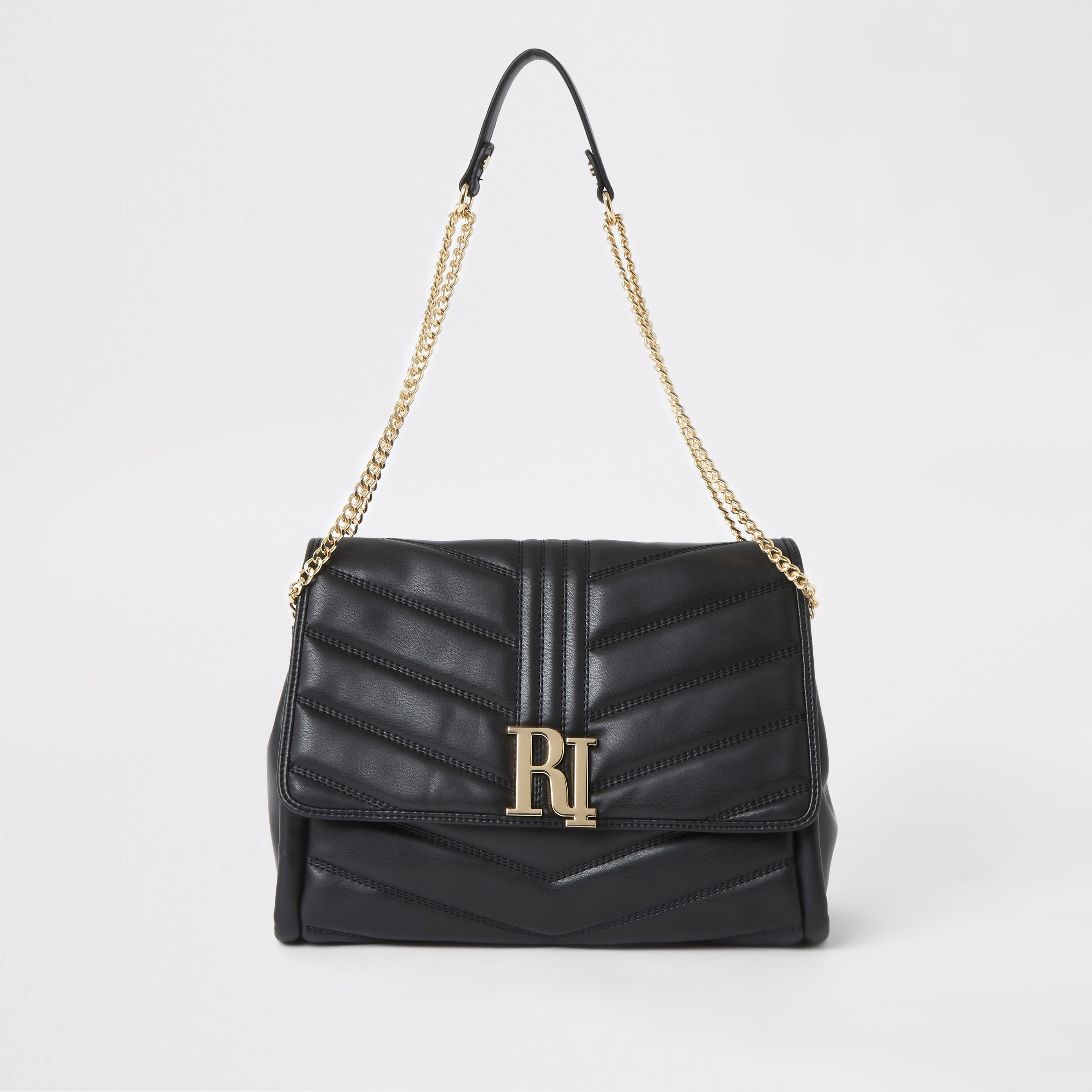 RIVER ISLAND | Womens Black RI Quilted Underarm Bag | Goxip