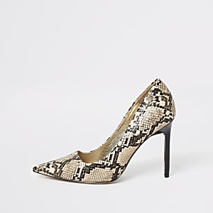 Brown snake print skinny heel pumps