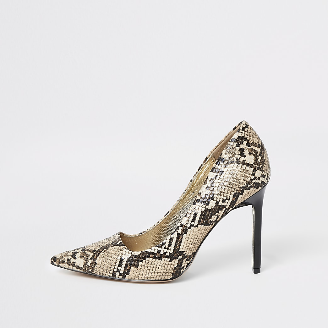 Brown snake print skinny heel court shoes
