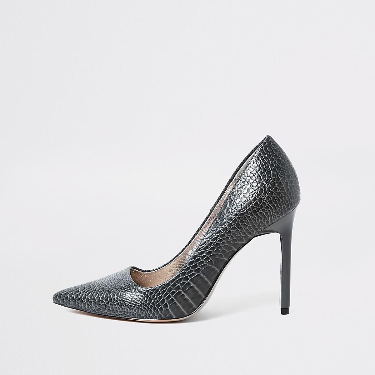 Grey croc skinny heel court shoes