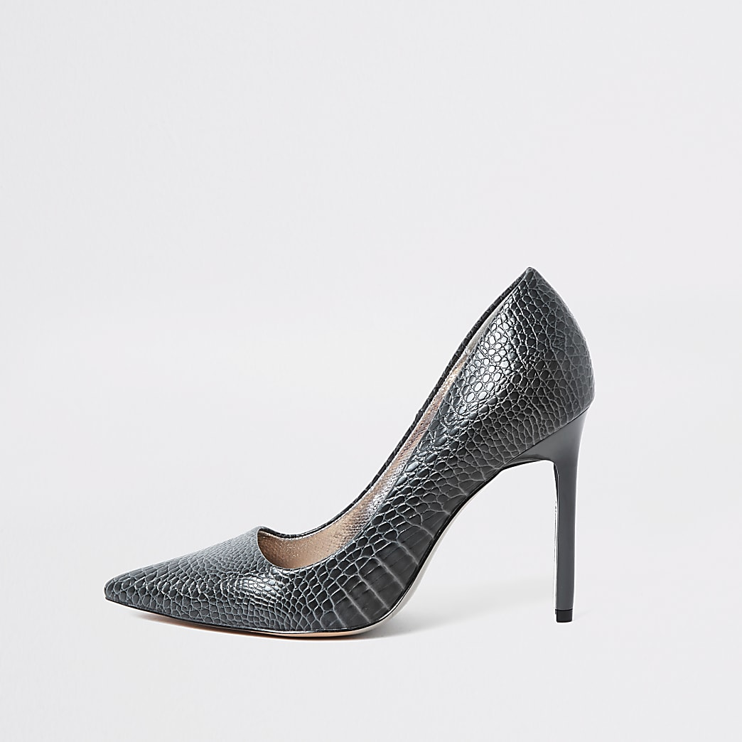 Grey croc skinny heel court shoes