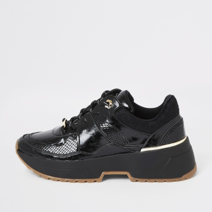 Black patent textured lace-up runner trainers