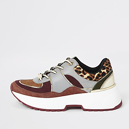 Red leopard print lace-up runner trainers