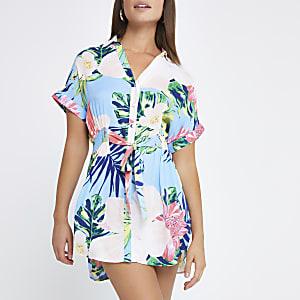 Blue floral print shirt dress