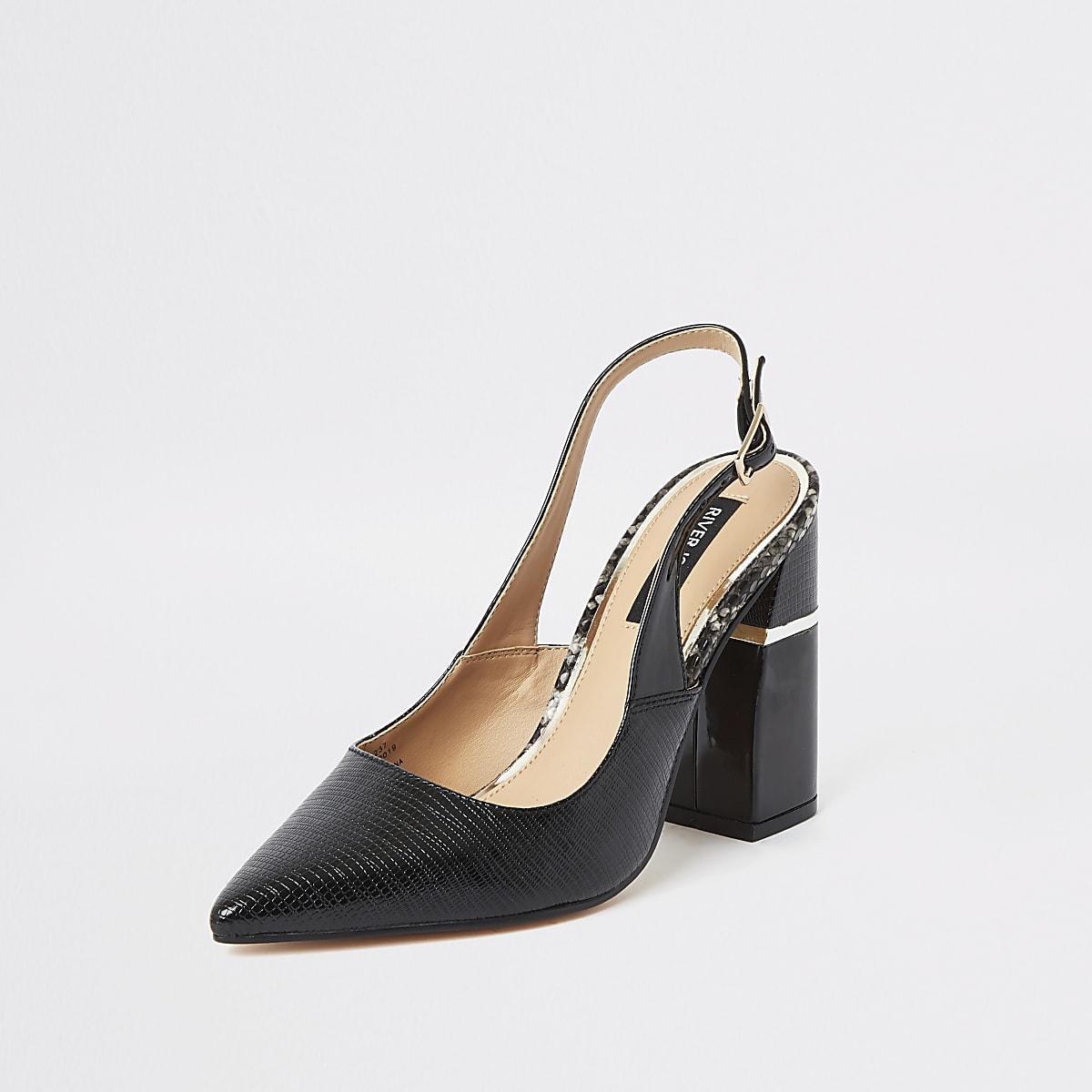07f6bcac66e Black slingback block heel court shoes | River Island