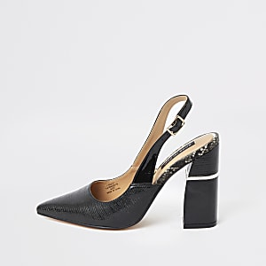 Black slingback block heel pumps