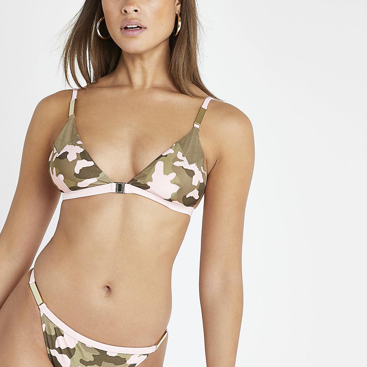 Khaki camo print clip front bikini top