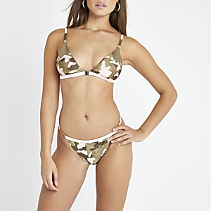 Bas de bikini camouflage kaki échancré