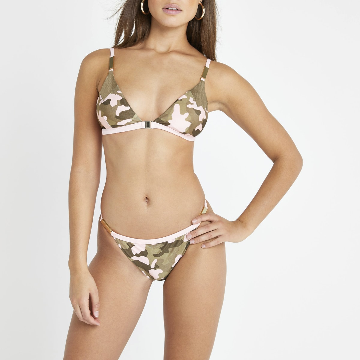 Khaki camo print high leg bikini bottoms