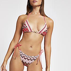 Pinke Bikinihose mit Zickzackmuster