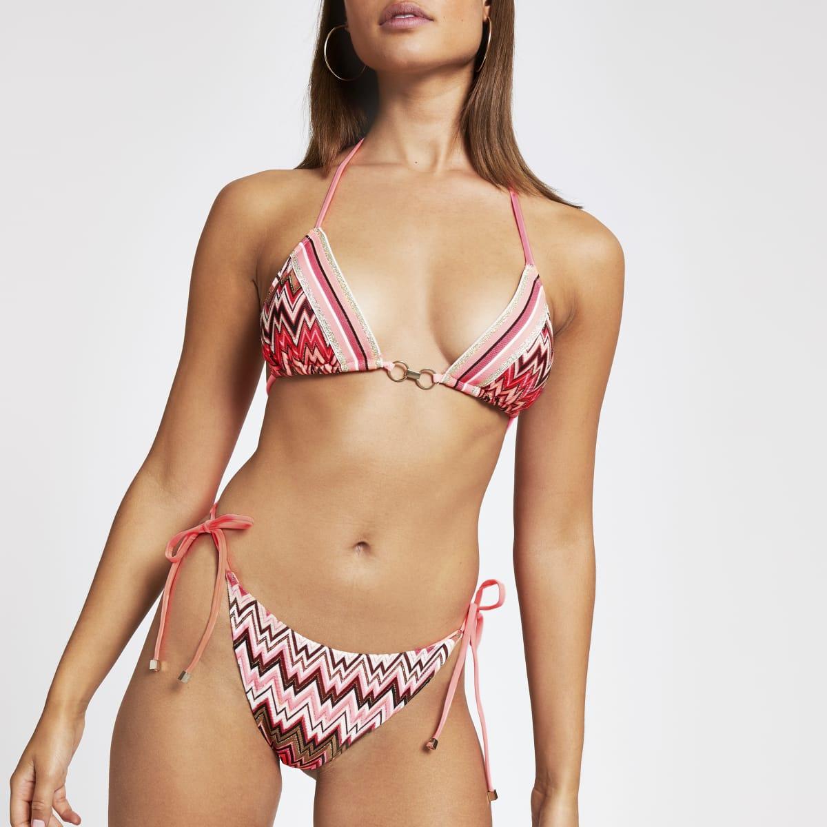 Pink zig zag bikini bottoms