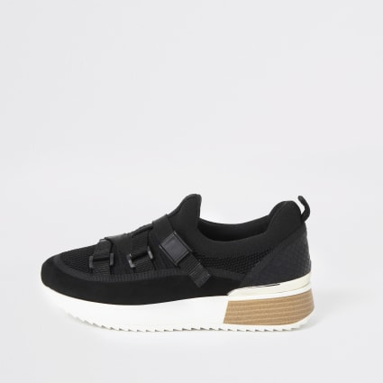 Black strap runner trainers