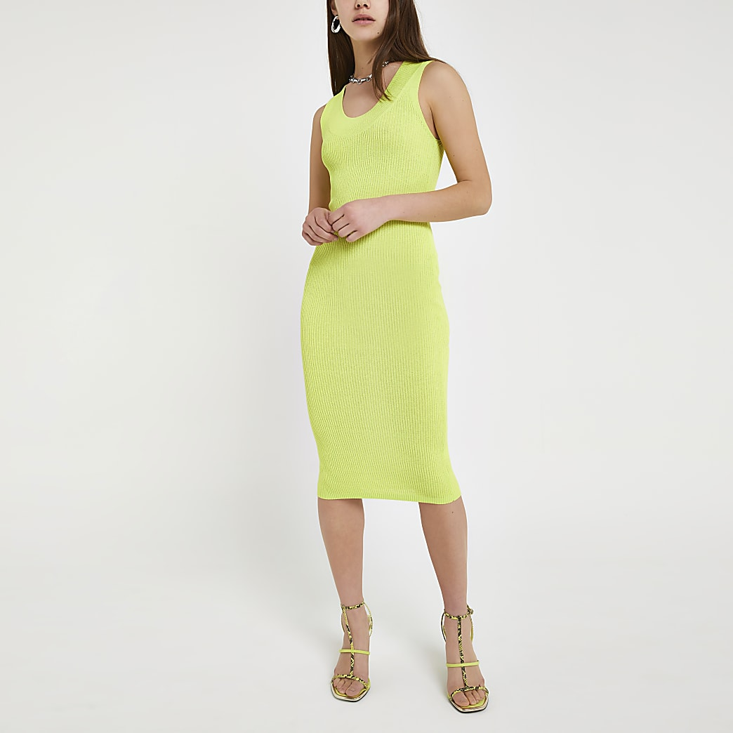 Petite neon yellow bodycon midi dress