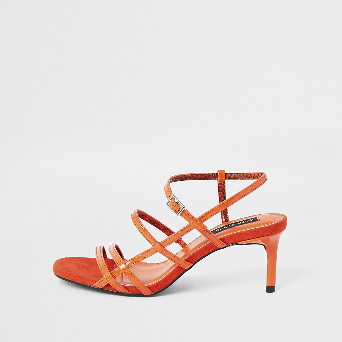 Oranje smalle sandalen met bndjes en hoge hakken