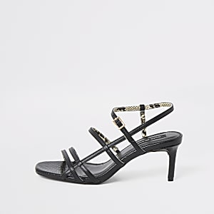 Black caged skinny heel sandals