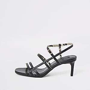 Zwarte smalle sandalen met bndjes en hoge hakken