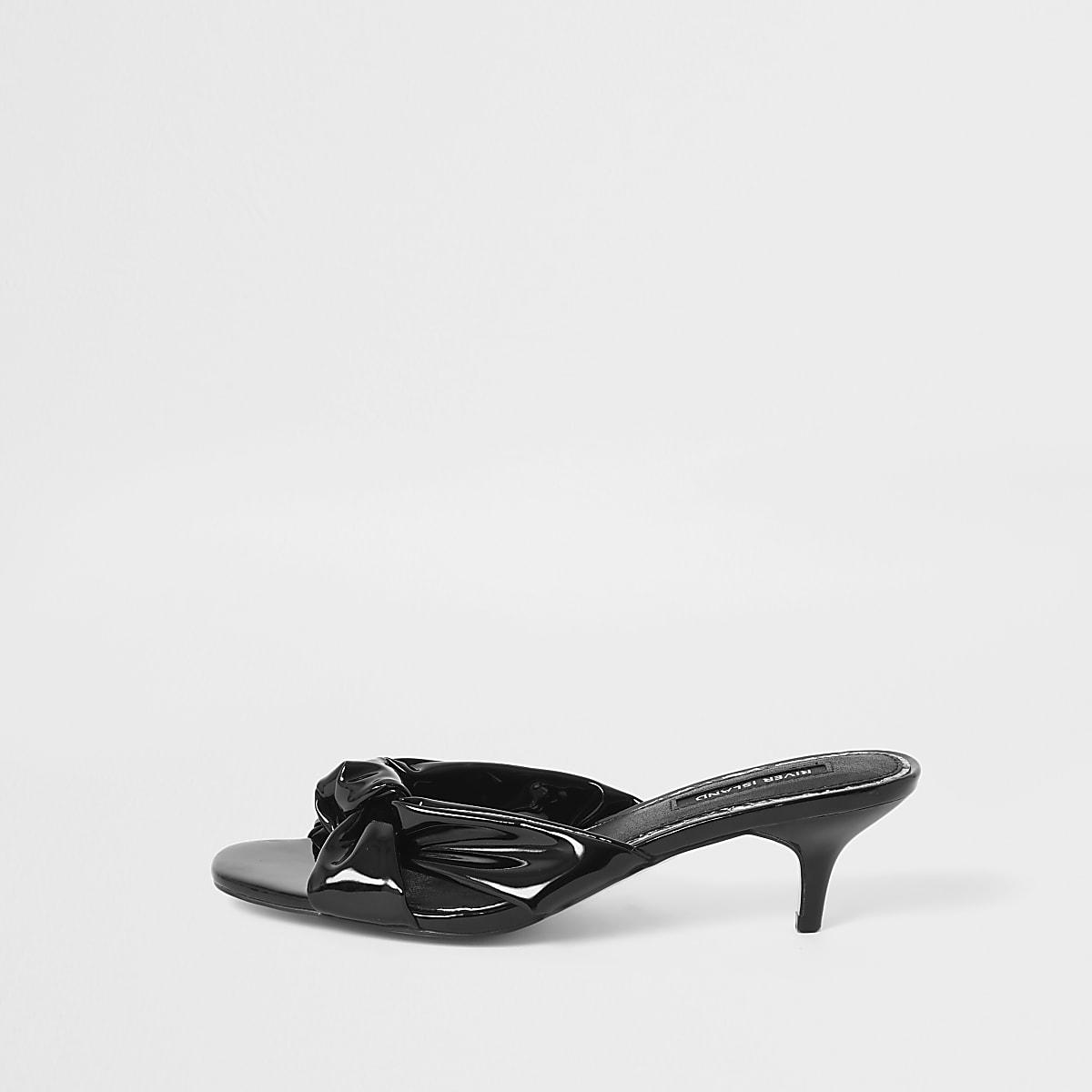 Black bow kitten heel mule sandals