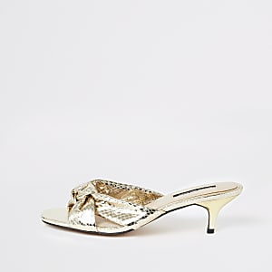 Gold bow kitten heel mules