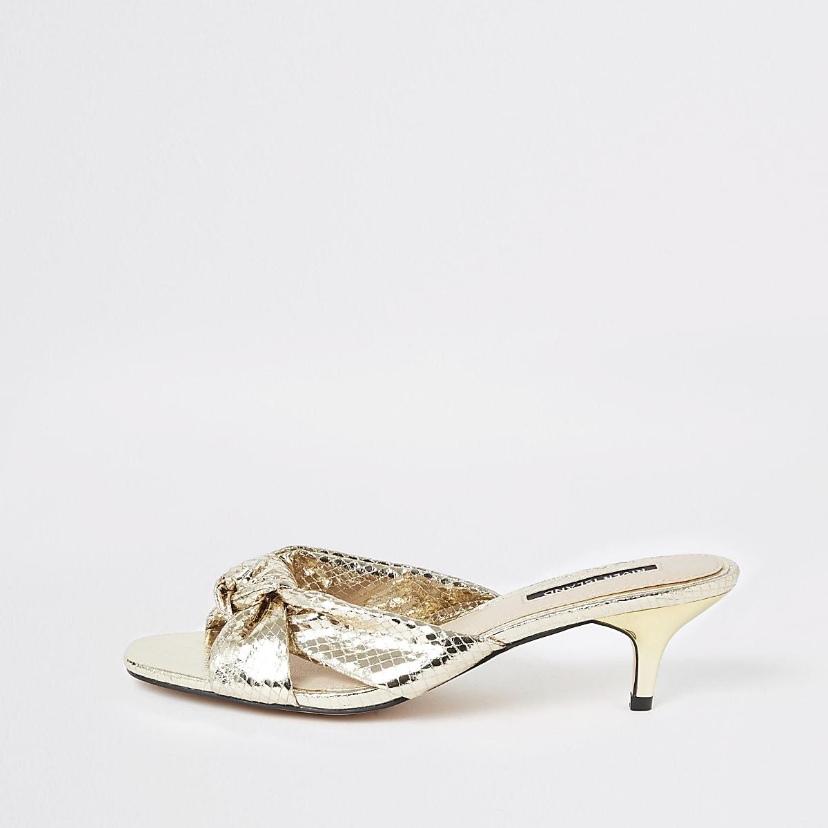 Gold bow kitten heel mules