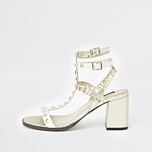 White studded gladiator block heel sandals