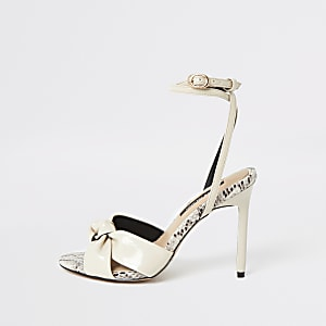 Cream knot front heeled sandal