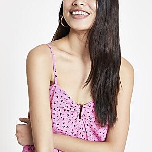 Pink print cami top