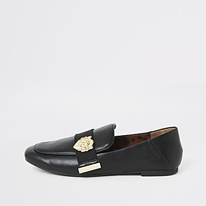 Black tiger embellished loafers