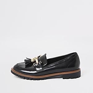 Zwarte platte loafers met kwastje