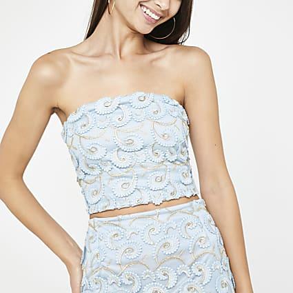 Blue lace bandeau top