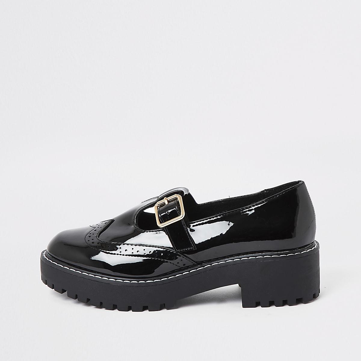 Black patent brogue shoes