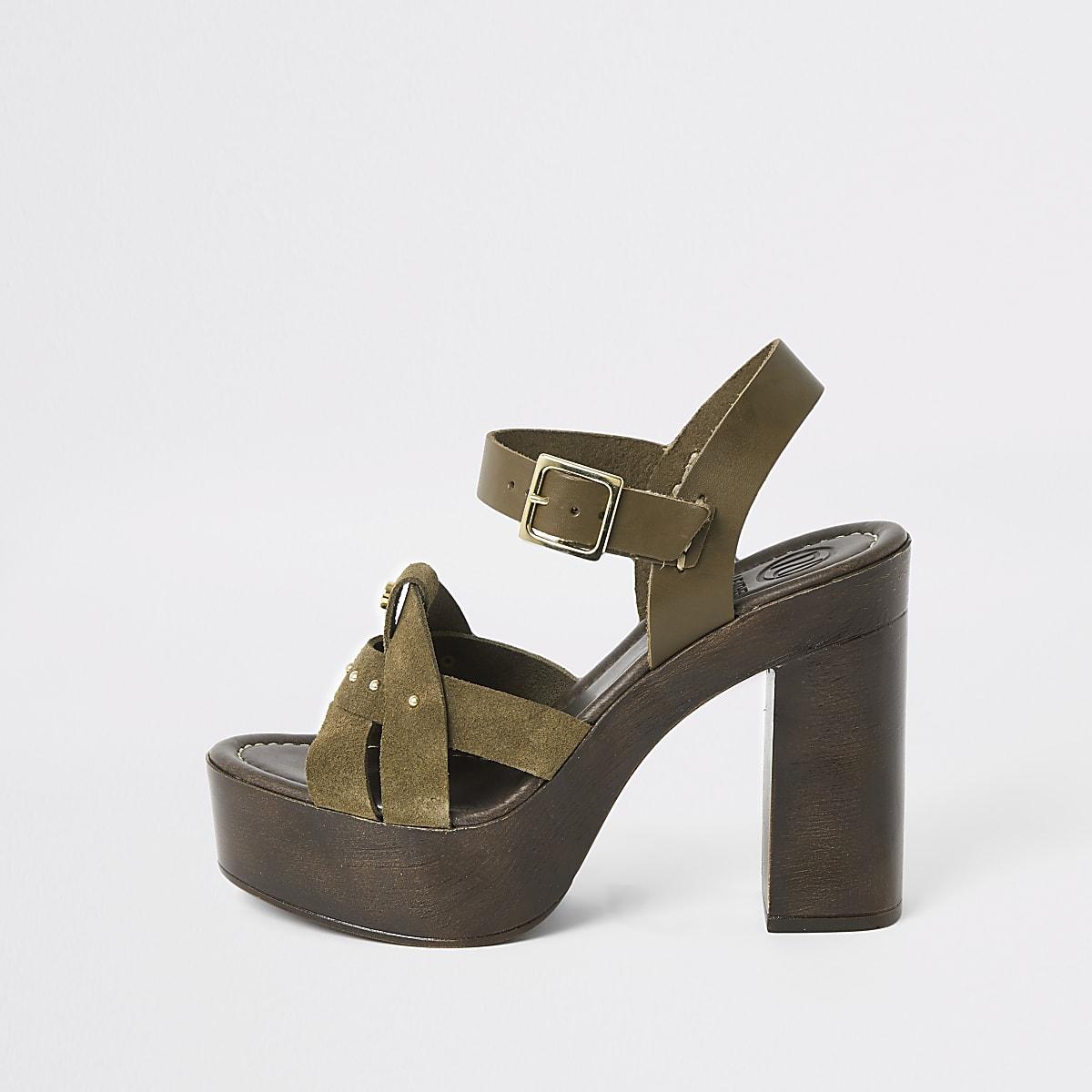 Khaki suede studded platform heels
