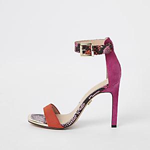 Pinke, zarte Sandalen in Schlangenlederoptik