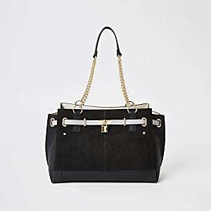 Zwarte handtas met hangslot