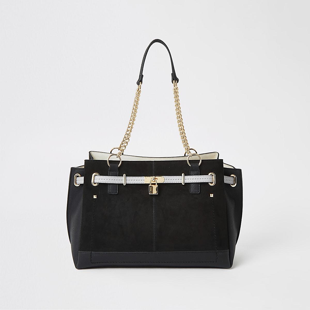 Black padlock tote bag
