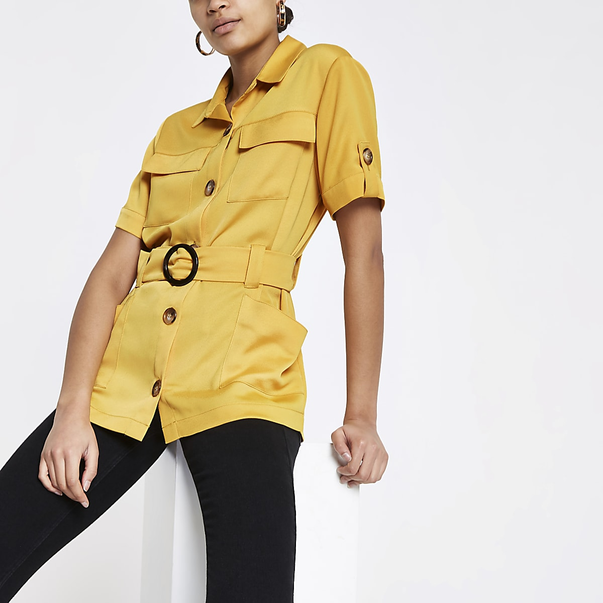 Yellow utility belted waist shirt