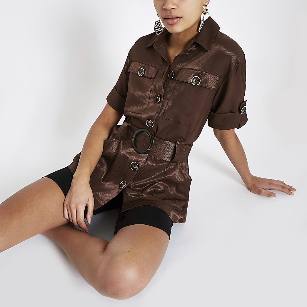 Brown utility belted waist shirt