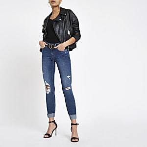 Mid blue Amelie super skinny roll hem jeans