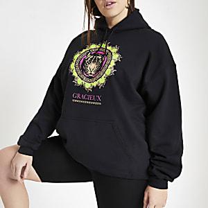 Plus black neon tiger print hoodie