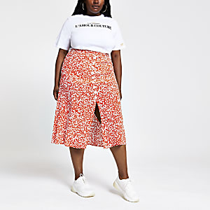 Plus red printed button front midi skirt
