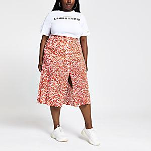Plus – Jupe mi-longue imprimée rouge boutonnée sur le devant