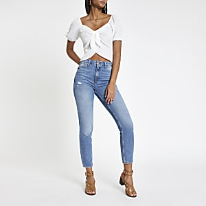 Crop top blanc noué devant