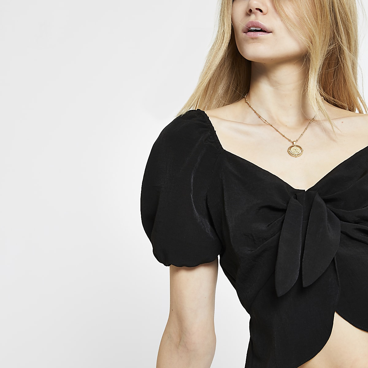 Black tie front crop top